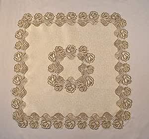 """Sainty H0987-(36x36) 米色玫瑰蕾丝方形桌垫 奶油色 44"""" H0987-(44x44)"""