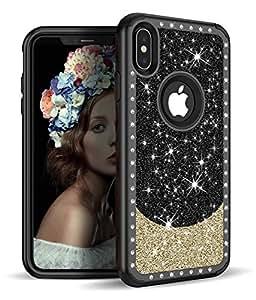 iPhone Xs 手机壳,Vodico iPhone X 混合纤薄水晶闪亮钻石哑光少女闪耀闪亮外壳,双层硬质 PC 和软橡胶缓冲机制,为女性/女孩带来高冲击保护 黑色