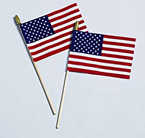 Allied Flag Cotton US Stick Flag 红色,白色和蓝色 8-Inch by 12-Inch