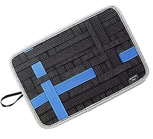 Admirable Idea 电子配件收纳包,电缆弹性收纳板,旅行小工具收纳盒,带平板电脑口袋 大 黑色和蓝色