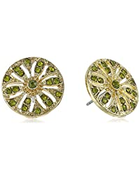 1928 珠宝金色橄榄绿纽扣耳钉