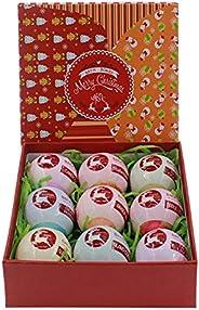 Bath Bombs - 圣诞驯鹿 - 9 种不同的香味,装在装饰礼品盒中,丰富多彩体验
