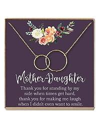 Dear Ava Mother Daughter Gift 项链,妈妈礼物项链,2 个互锁圈