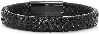 Xusamss 朋克摇滚不锈钢磁扣腕带编织皮革袖口手链,8 英寸(约 20.3 厘米)手腕