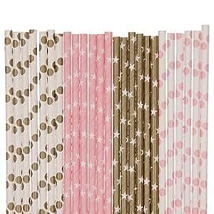 生物降解纸吸管混合,浅粉色和金色,波点星星 粉红色 43237-2