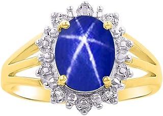 RYLOS 女式 戴安娜公主灵感光环戒指宝石和真品闪亮钻石 14K 黄金镀银 .925-9X7MM 彩色宝石