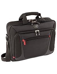 Wenger 600643 传感器 15.4 英寸笔记本电脑公文包,带衬垫笔记本电脑隔层,内置 iPad/平板电脑/电子阅读器口袋,黑色 {9 升}