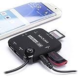 MAXAH 美呈 三星小米等安卓手机平板电脑多功能USB 读卡器 双向传输 OTG数据线 带USB供电集线器 支持sd tf卡 黑色