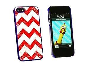 Graphics and More 复古 Chevrons 红色扣合硬质保护壳适用于 iPhone 5/5s - 非零售包装 - 蓝色