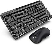 无线键盘鼠标组合 2.4G 无线复古圆形悬挂键帽(黑色)