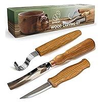 木质雕刻工具套件 - 木雕套装木质雕刻钩刀套装 - 勺子雕刻工具勺子刀套装 - Kuksa 碗勺形杯雕刻工具 - 预削木 Spoon Carving Kit S14