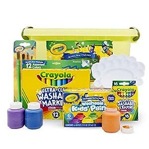 Crayola 绘儿乐 进口绘画文具 初级可水洗礼盒6件套(含颜料 蜡笔 水彩笔 画刷 调色盘及收纳桶)YMX-006
