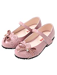 Ozkiz 小女孩休闲玛丽珍平底礼服鞋,带丝带