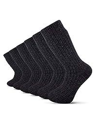 纯美利奴羊毛男士冬季袜,无缝针织,6 双装