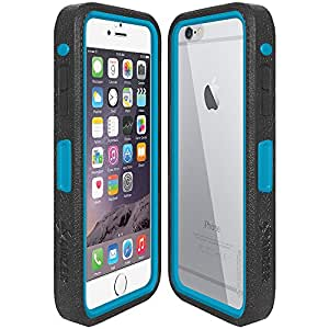 Amzer Crusta Rugged Embedded Tempered Glass Case with Belt Clip Holster for iPhone 6 Plus Black on Blue