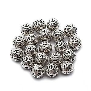 BRCbeads *品质藏银垫珠饰珠宝制作变体形状和尺寸 Round Hollow Style #6 8mm