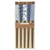 Aoba 筷子 可用洗碗機清洗 天然木 靛藍 5雙裝 透明盒