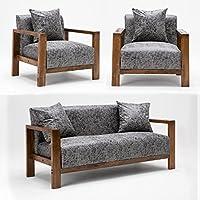鹿枫 北欧实木休闲布艺沙发组合 时尚简约皮艺沙发 日式沙发椅组合 单人位*2+双人位*1 LFSF23 (皮艺银色)