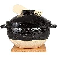 长谷制陶(Nagatani Seitou) 陶土锅/煮饭锅 黑色 2500毫升/五合