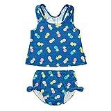 I PLAY 女婴2件蝴蝶结连体泳衣套装带按扣可重复使用吸水游泳尿布