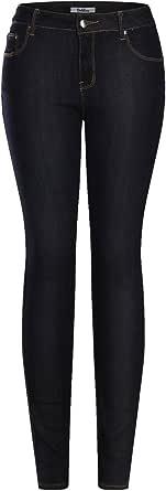 2LUV 女士弹力 5 口袋深色牛仔紧身牛仔裤  *蓝(Midnight Navy) 1