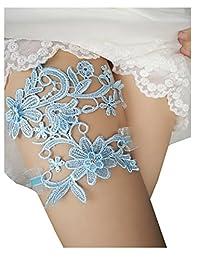 YhdDiy 新娘婚礼蕾丝吊袜带花朵水钻吊袜带 S14