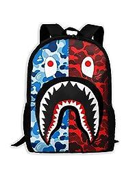 DISINIBITA Bape 血鲨背包青少年学生书包儿童时尚书包男孩/女孩黑色