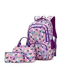 VIDOSCLA 3 件套几何印花小学生挎包背包小学生书包儿童书包