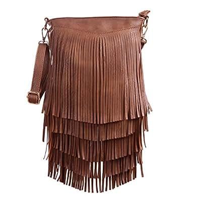 HDE 女式皮革 Hobo 长款流苏 斜挎包 流苏钱包 小手提包 深色驼色 单一尺寸