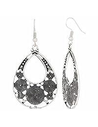 efulgenz 印度复古怀旧民族吉普赛锈色波西米亚耳环钩耳坠适用于女孩和女式 LOVE 礼品  灰色