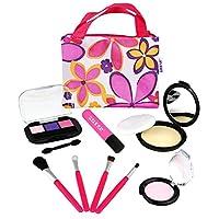 Click N' Play Pretend Play 化妆品和化妆品套装带花卉大手提袋