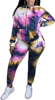 Xibulin 女士亮片拼接 2 件套运动服露脐上衣和长裤运动裤套装