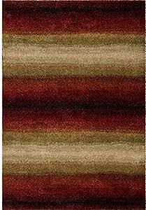 "Orian Rugs Plush Stripes Skyline Red Area Rug (3'11"" x 5'5"")"