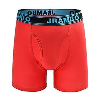 JRAMBO 男士内裤柔软棉质平角内裤无骑行裤开门襟平角内裤 弹性腰带 A_red_blue(1 Pack) Large