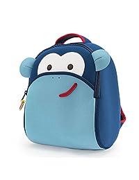 Dabbawalla Bags Monkey Kid's Toddler and Preschool Backpack, Blue/white