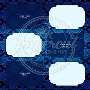 4 x 6 照片印刷剪贴簿,蓝色图案双面印花 - 20 张