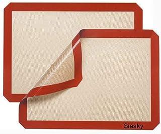 2 件优质 40.64 厘米 X 30.48 厘米硅胶不粘烘焙垫,Siasky *耐热和 FDA 批准烘焙纸,不粘硅胶衬,适用于烘焙锅和糕点卷