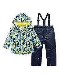 Hiheart 男孩防雪衣冬季滑雪夹克和裤子套装