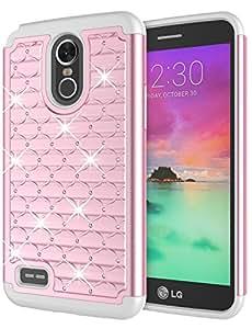 LG Stylo 3 手机壳,LG Stylo 3 Plus 女孩手机壳,Jeylly [钻石星星] 混合橡胶塑料减震镶钻水晶闪亮盔甲手机壳 LG Stylo 3/Stylo 3 Plus 2017 粉红色