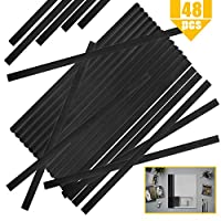 YG_Oline 48个黑色滑动手柄装订夹 书脊夹 适用于学校办公室报告封皮文件夹 A4大小 40页容量 12英寸