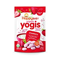 Happy Baby 有机Yogis酸奶小吃,冻干酸奶&水果零食,草莓味 1盎司(28g)(8包装),无人造香料,无麸质,Non-GMO,犹太洁食