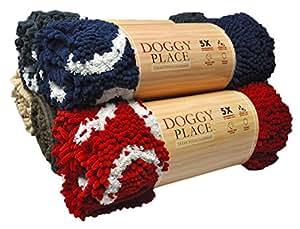 """My Doggy Place - *吸水超细纤维狗门垫,耐用、快干,可洗涤,防止泥土污,保持家清洁 *蓝,带爪印 Large (36"""" x 26"""")"""