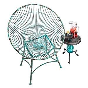 Design Toscano Saint-Tropez 雕塑金属环状花园椅 蓝色 FU973258