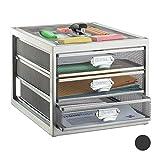 Relaxdays 抽屉盒,3 个抽屉,适用于 Din A4 文件,收纳系统,书桌,文件柜,各种 颜色 银 HBT: 23 x 27,5 x 35 cm 10024815_55