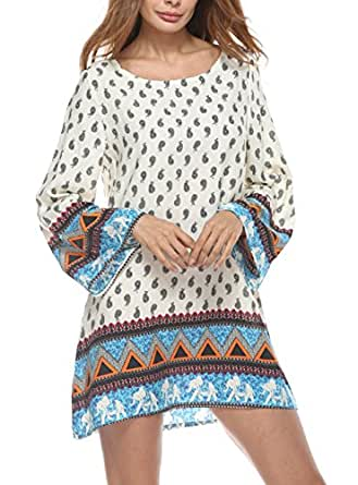 HIKARE 女式休闲圆领长袖波西米亚民族复古印花束腰连衣裙 白色 X-Large