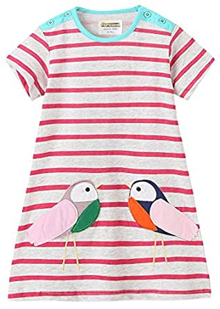 Fiream Girls Cotton Striped Dresses Shortsleeve Animal Appliques T-Shirt Casual Dresses 2-7T  米色 5T/5-6YRS