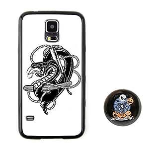 绳子中的蛇 素描头像浮雕图案系列风格 塑料+TPU手机壳 手机套 适用于 Samsung三星 Galaxy S5 赠送杰克圣诞夜惊魂胸章