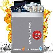 Scuddles 防火袋,防火,適用于家庭或墻壁保險柜 15 X 11 INCHES Fireproof documents bag