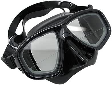 Scuba Choice Scuba Black Diving Dive Mask Gauge Reader Farsighted Prescription RX Optical Corrective Bottom 1/3 Prescripted Lenses, +1.0