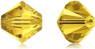 Swarovski 施华洛世奇双锥体水晶珠耳环手链项链脚链吊坠钥匙扣拉链瑜伽珠宝制作用品配件 淡黄玉 6mm (0.24 inch)